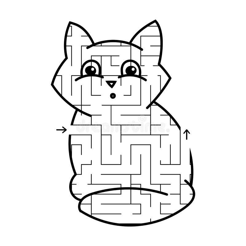 Gattino sveglio del labirinto Gioco per i bambini Puzzle per i bambini Stile del fumetto Enigma del labirinto Illustrazione bianc royalty illustrazione gratis