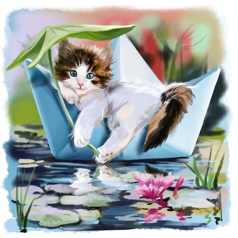Gattino in una barca di carta che galleggia sullo stagno illustrazione di stock
