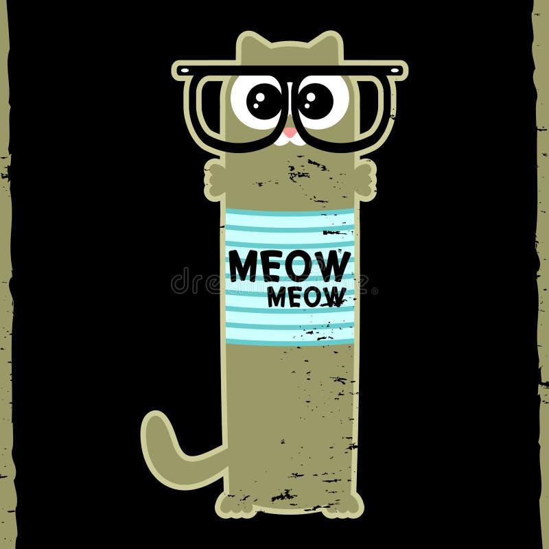 Gattino in vetri dei pantaloni a vita bassa illustrazione di stock