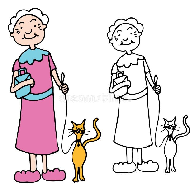 Gatto ambulante della donna maggiore sul guinzaglio royalty illustrazione gratis