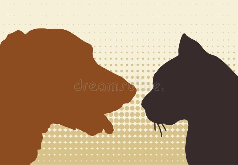 Gatto & cane illustrazione di stock