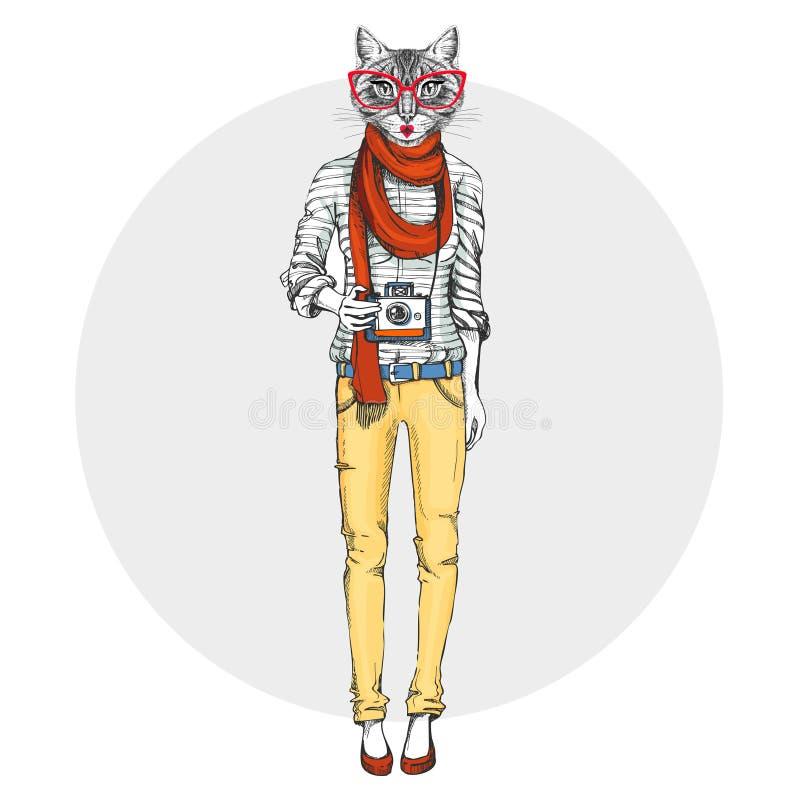 Gatto animale dei retro pantaloni a vita bassa con la macchina fotografica della foto Modello della donna illustrazione di stock