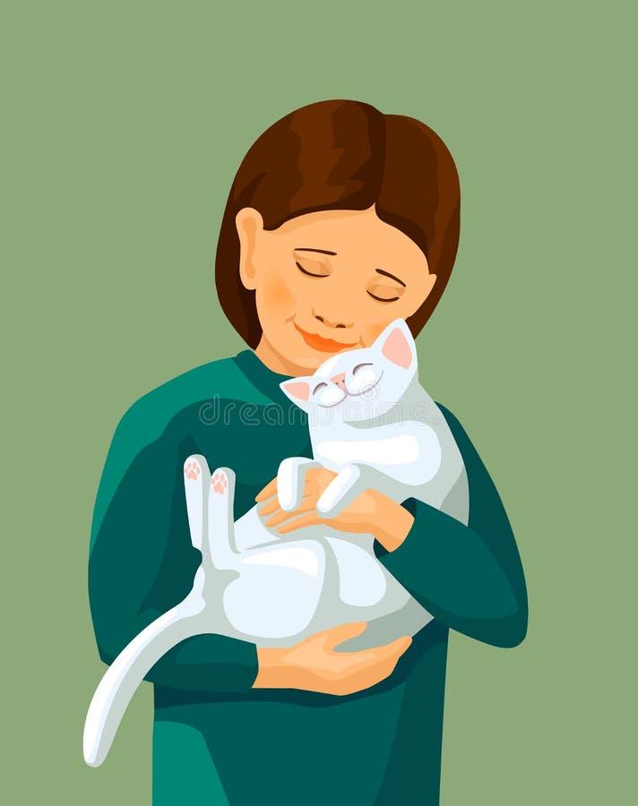 Gatto bianco di abbraccio della bambina illustrazione di stock