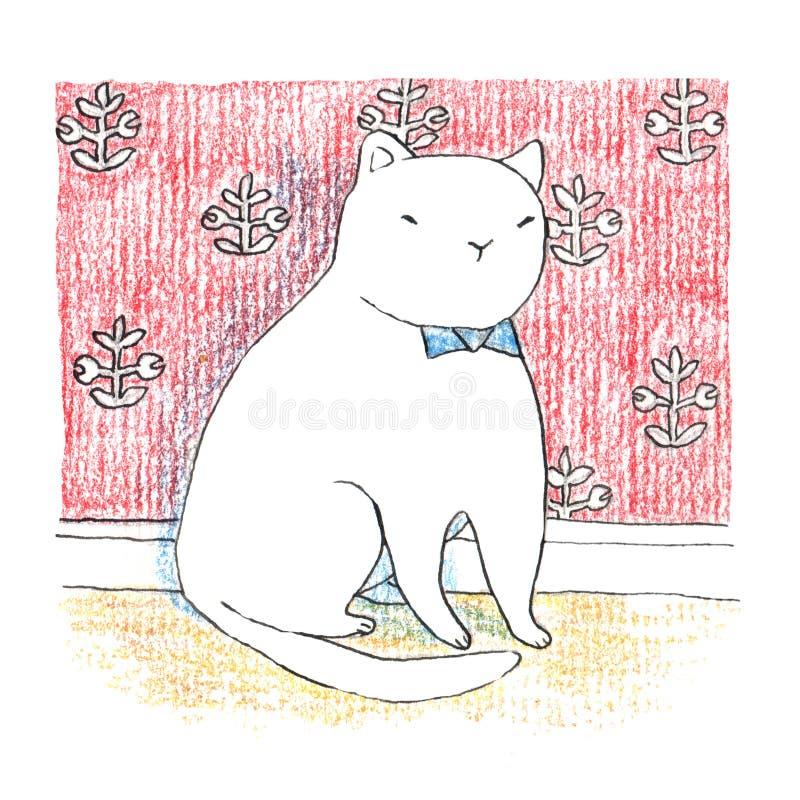 Gatto bianco divertente grasso che si siede vicino alla parete rossa royalty illustrazione gratis