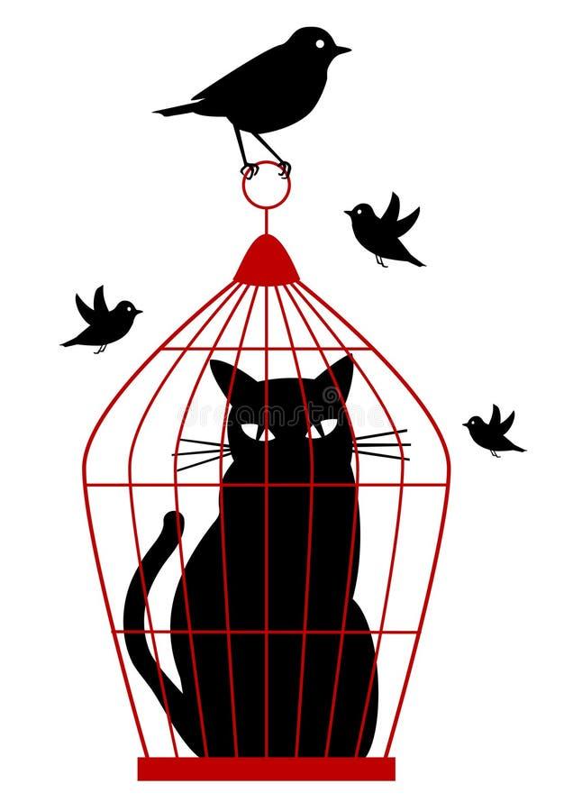 Gatto in birdcage,   illustrazione vettoriale