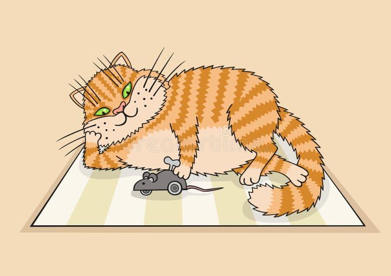 Gatto che gioca con un giocattolo illustrazione vettoriale