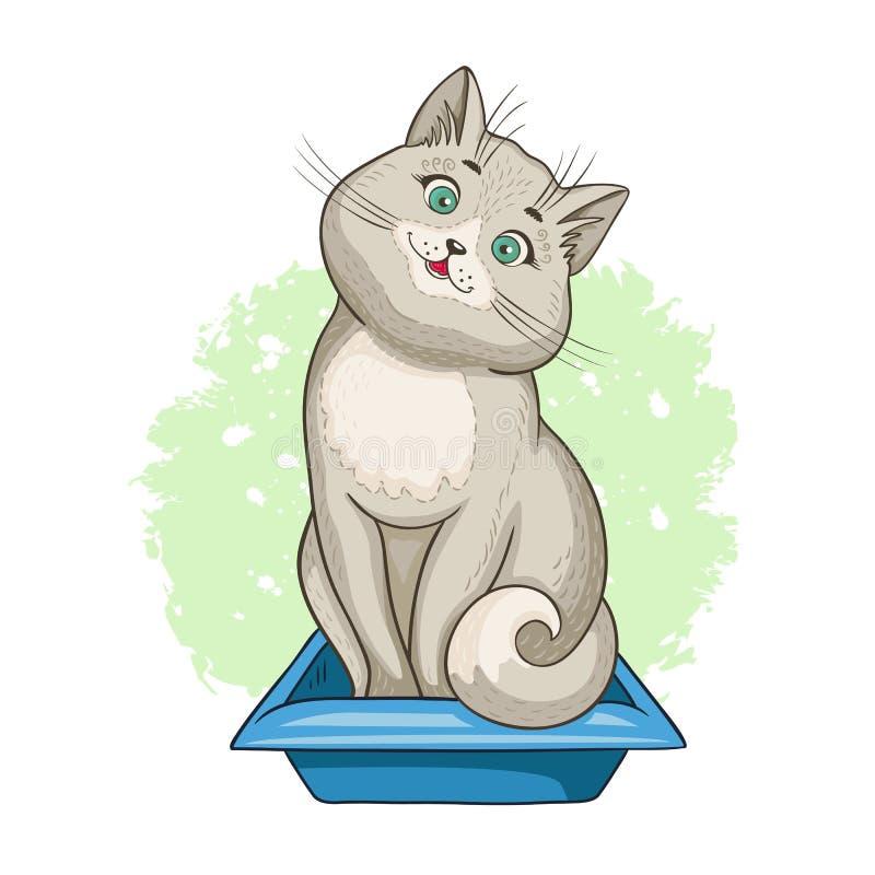 Gatto che si siede in un  di Ñ al vassoio della lettiera illustrazione di stock