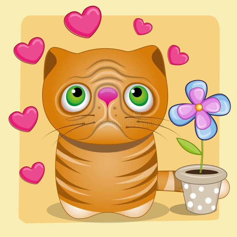 Gatto con cuore ed il fiore illustrazione vettoriale