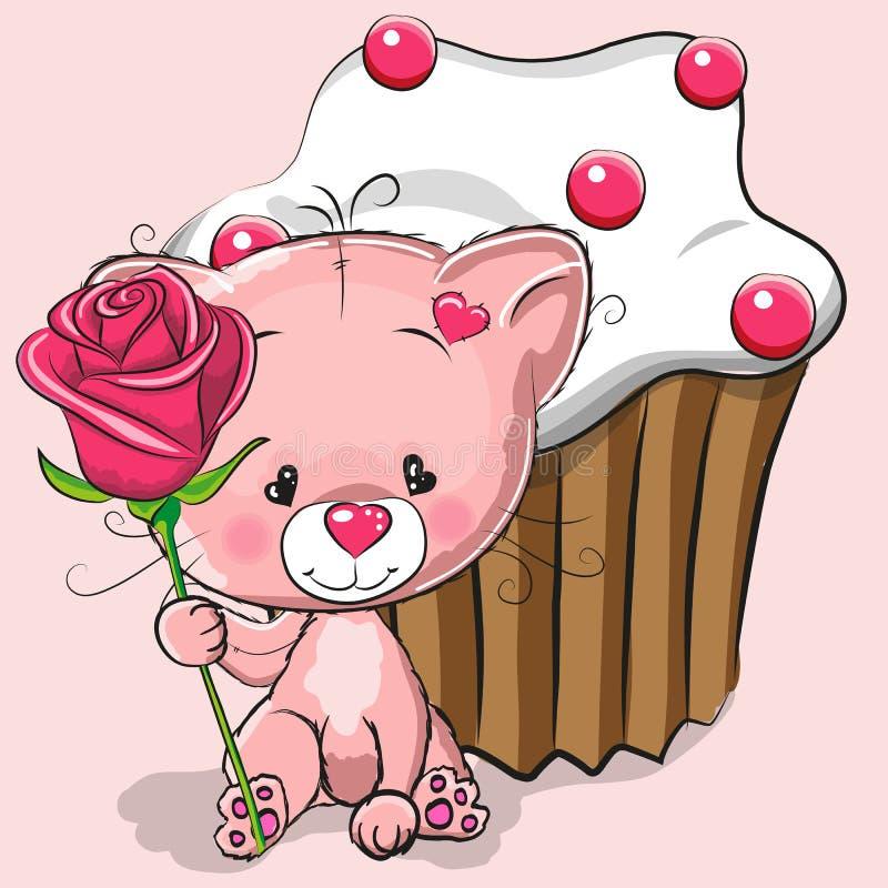 Gatto con il fiore illustrazione di stock