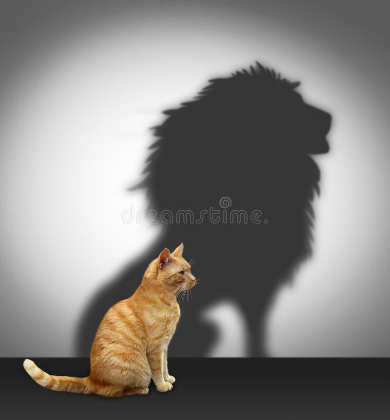 Gatto con l'ombra del leone immagine stock