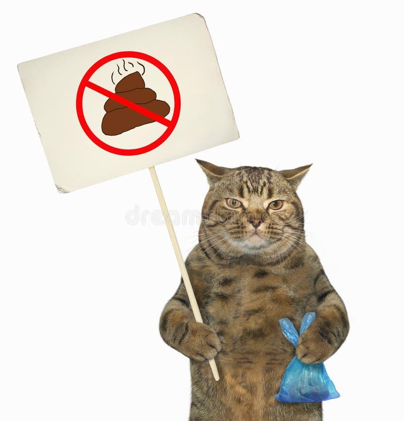 Gatto con un segno e un sacchetto di plastica fotografia stock