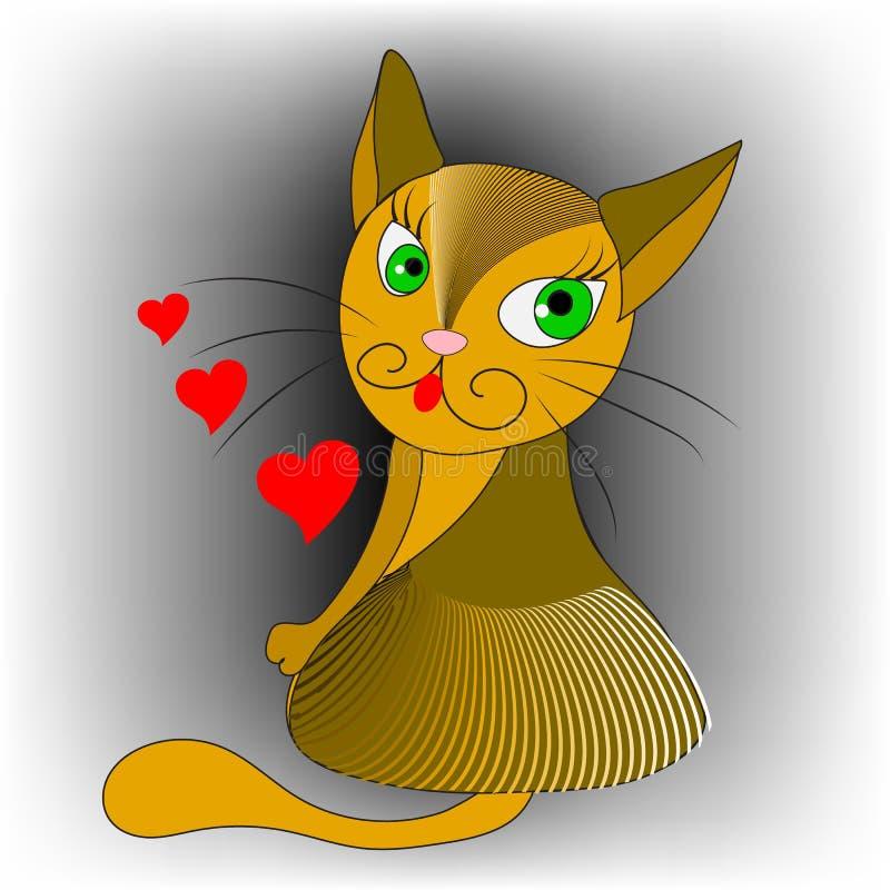 Gatto del fumetto Illustrazione di vettore Progettazione decorativa variopinta disegnata a mano dell'estratto Gattino ornamentale royalty illustrazione gratis