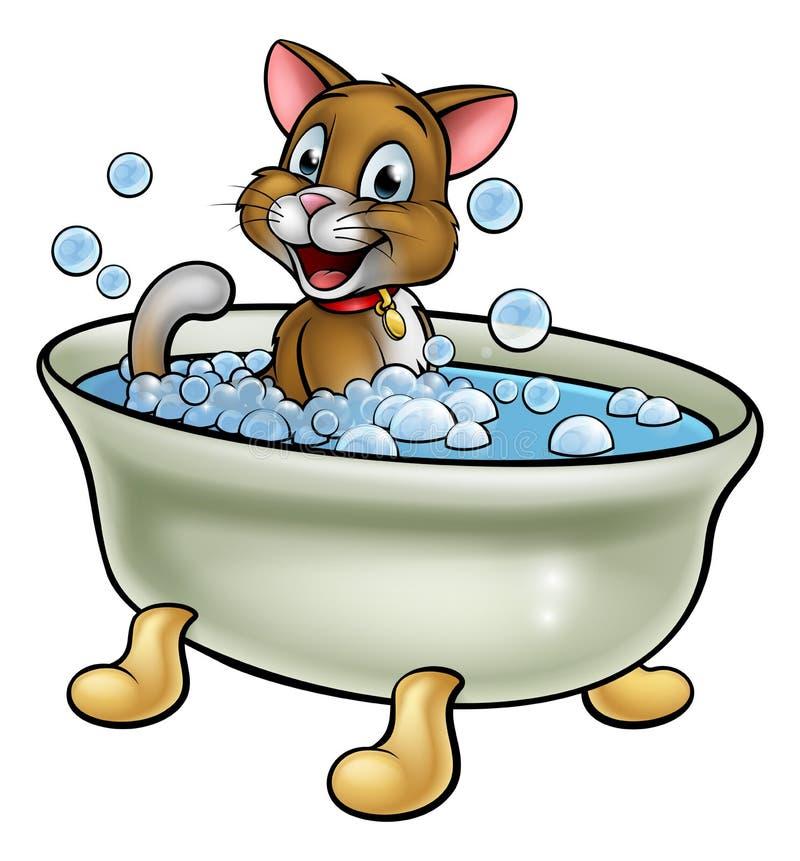 Gatto del fumetto nel bagno illustrazione di stock