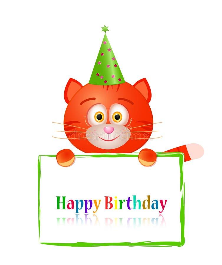 Gatto del giocattolo con la cartolina d'auguri sul compleanno royalty illustrazione gratis