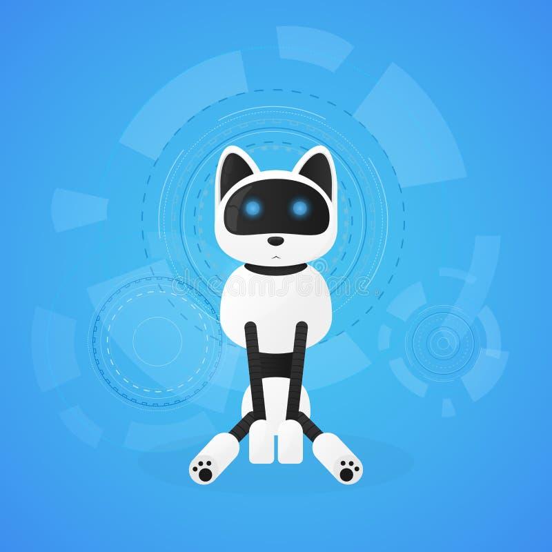 Gatto del robot Macchine animali che funzionano automaticamente, animale domestico interattivo del giocattolo del computer illustrazione di stock
