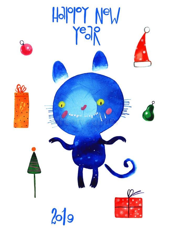 Gatto dell'acquerello, insieme del nuovo anno, illustrazione del fumetto isolata su fondo bianco royalty illustrazione gratis