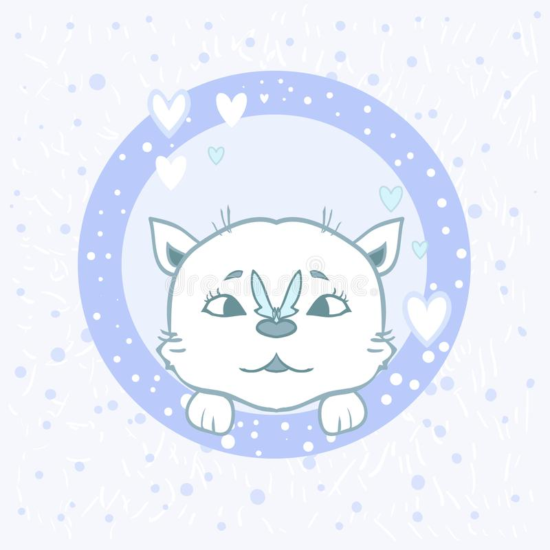 Gatto dell'autoadesivo con una farfalla - il vettore piacevole del fumetto pets il disegno del bambino per i bambini Zampe svegli illustrazione vettoriale