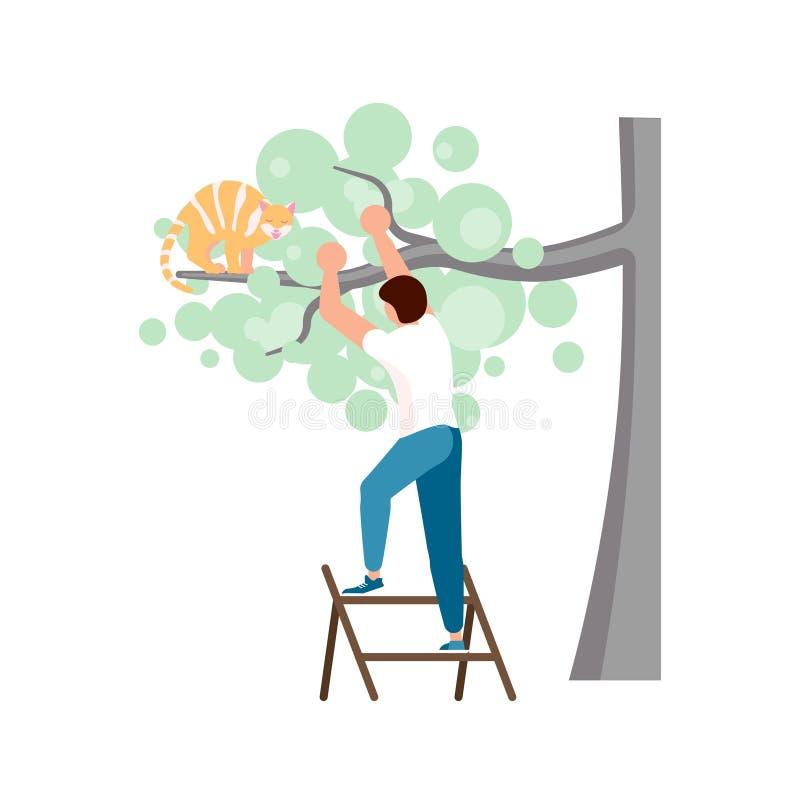 Gatto dello zenzero su un alto albero illustrazione di stock
