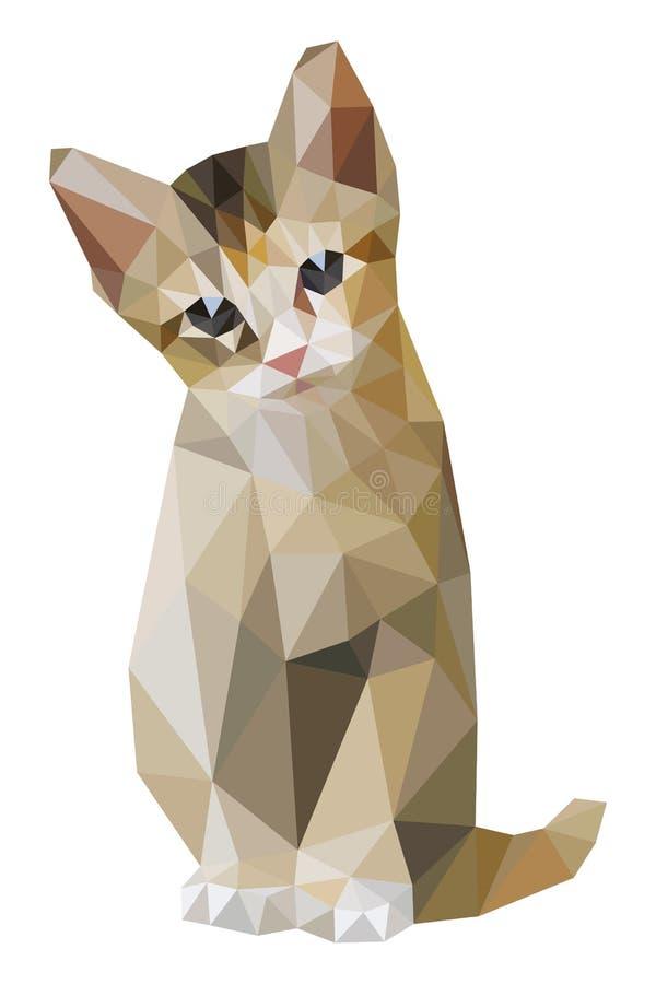 Gatto di Brown che si siede poligono basso royalty illustrazione gratis