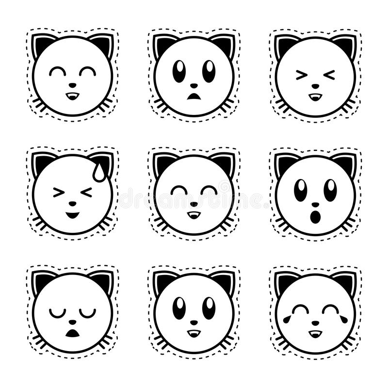 Gatto di Emoji Emoji in bianco e nero fotografie stock libere da diritti