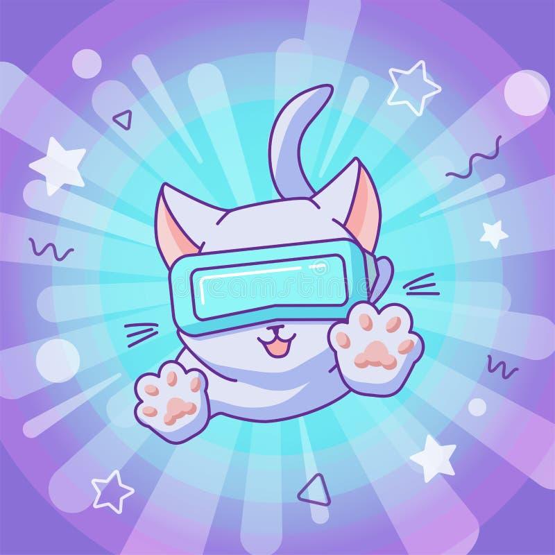 Gatto di salto con la cuffia avricolare del vr nello spazio di realtà virtuale illustrazione di stock