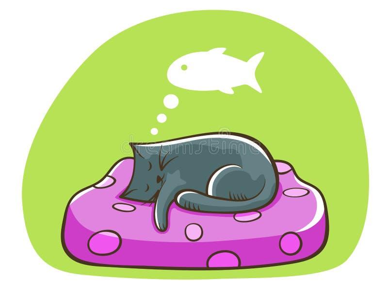 Gatto di sonno su un cuscino che sogna del pesce Illustrazione del gatto del fumetto royalty illustrazione gratis