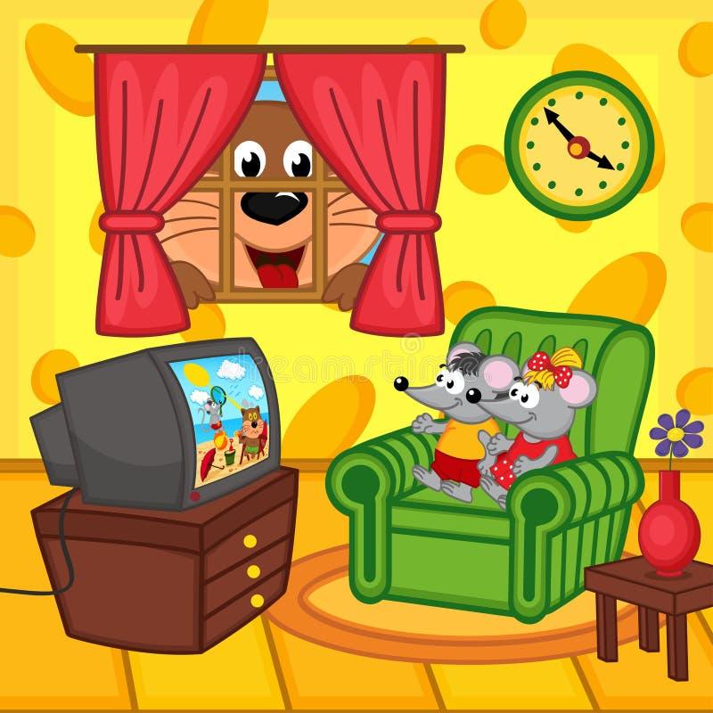 Gatto di sorveglianza della televisione del topo a casa che sbircia attraverso la finestra illustrazione di stock