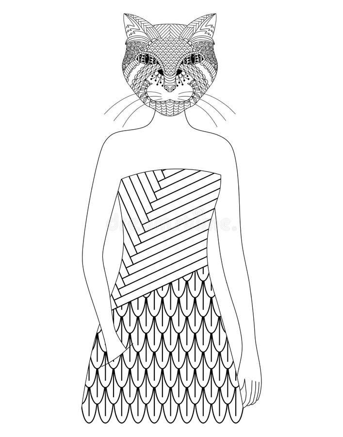 Gatto disegnato a mano illustrazione di stock