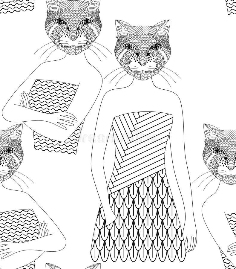 Gatto disegnato a mano royalty illustrazione gratis