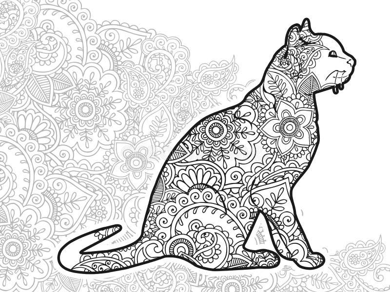gatto disegnato a mano in bianco e nero nello zentangle adulto animale della pagina di coloritura del rilascio di sforzo di Paisl illustrazione di stock