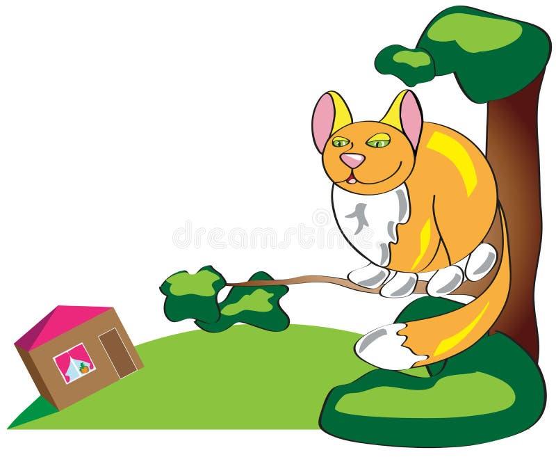 Gatto divertente semplice castano dorato che si siede su in un albero e che guarda giù illustrazione di stock