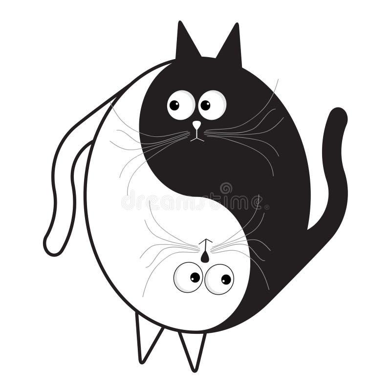 Gatto divertente sveglio bianco e nero del fumetto Icona del segno di Yin Yang Simbolo di feng shui Stile piano isolato di proget illustrazione vettoriale