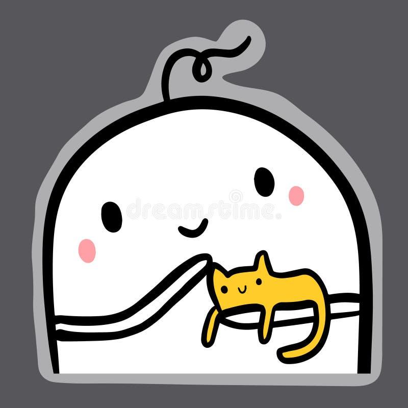 Gatto domestico dell'animale domestico sulle mani dell'illustrazione del mostro per l'autoadesivo illustrazione vettoriale