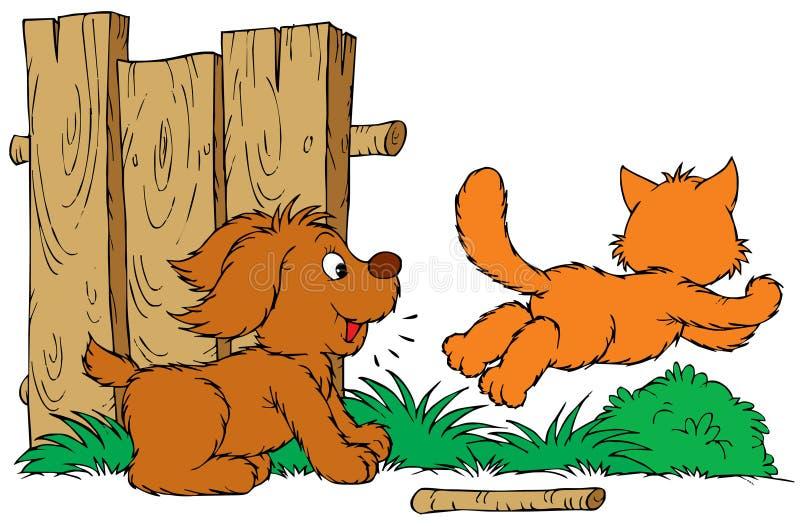 Gatto e cane illustrazione vettoriale