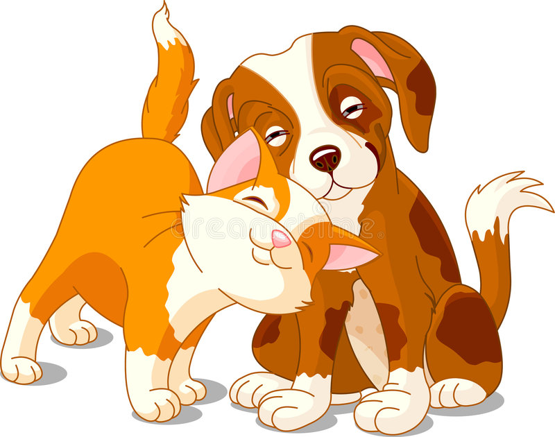 Gatto e cane royalty illustrazione gratis