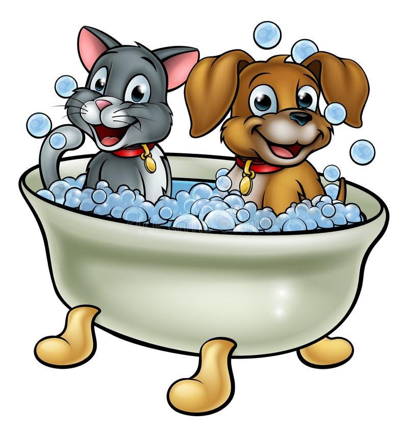 Gatto e cane del fumetto nel bagno illustrazione vettoriale