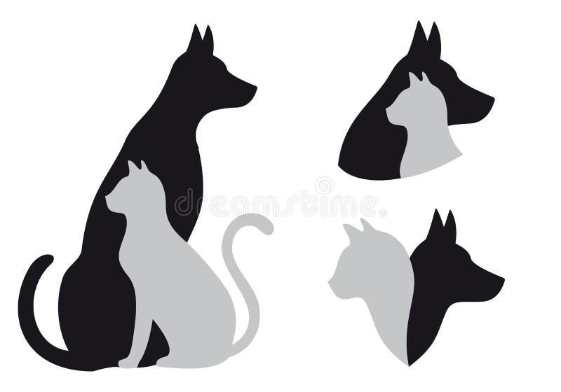 Gatto e cane, vettore illustrazione vettoriale