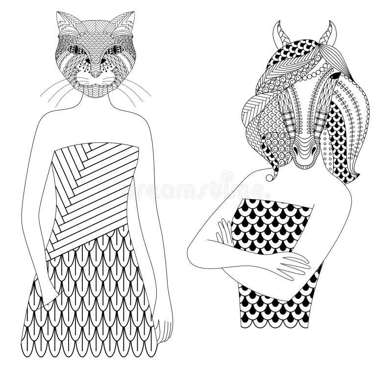Gatto e cavallo royalty illustrazione gratis