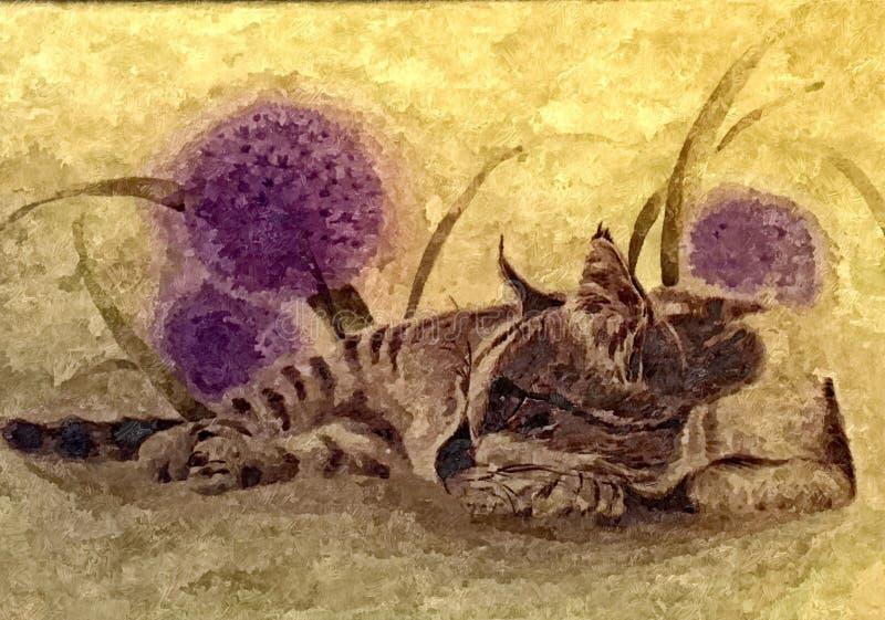 Gatto e denti di leone lanuginosi Ritratto Acquerello bagnato di verniciatura su carta Arte ingenuo Acquerello del disegno su car illustrazione di stock