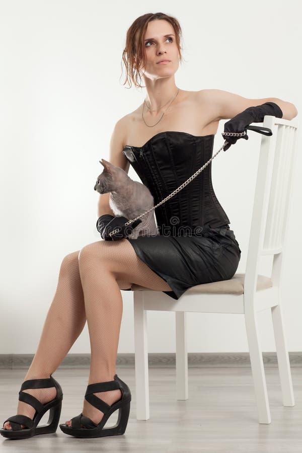 Gatto e donna fotografia stock libera da diritti