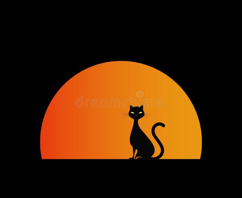 Gatto e luna nell'oscurità della notte illustrazione di stock