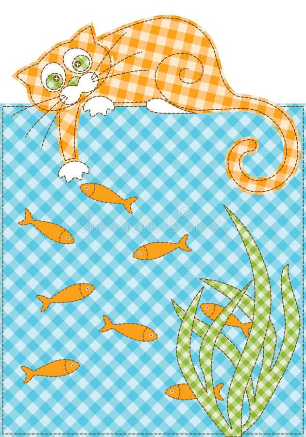 Gatto e pesci immagine stock