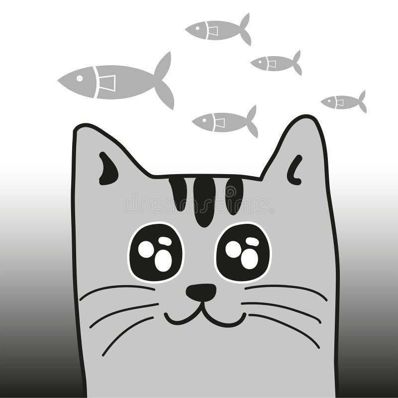 Gatto e pesci illustrazione vettoriale
