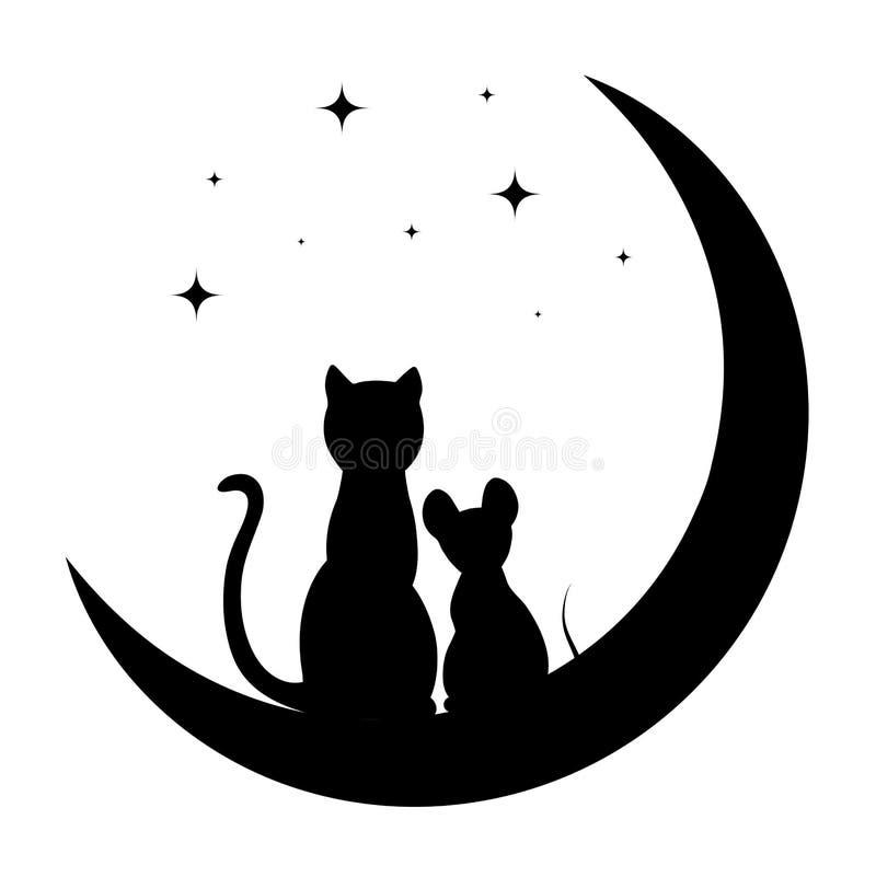 Gatto E Piccolo Topo Che Si Siedono Sulla Luna Illustrazione ...