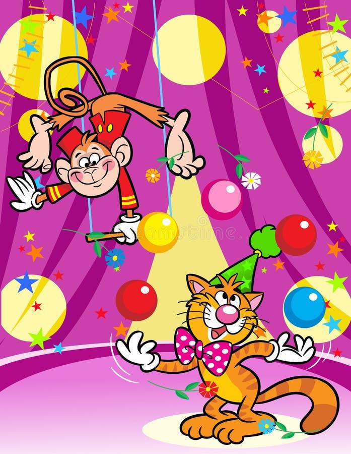 Gatto e scimmia in un circo royalty illustrazione gratis