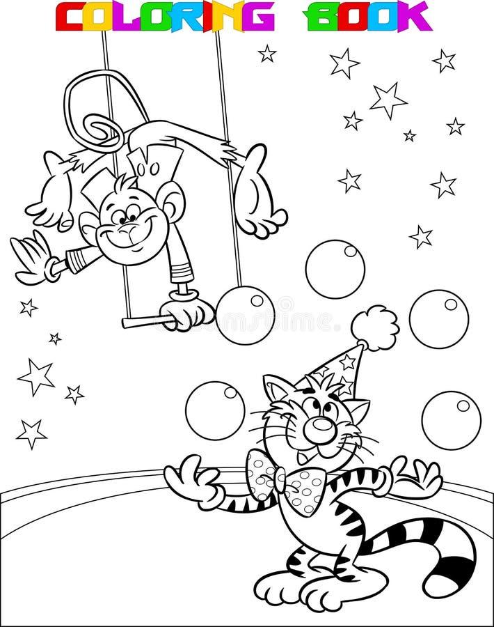 Gatto e scimmia in un circo illustrazione vettoriale