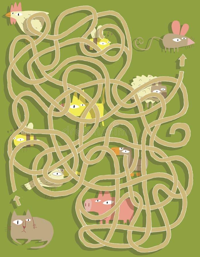 Gatto e topo Maze Game. Soluzione nello strato nascosto! illustrazione di stock