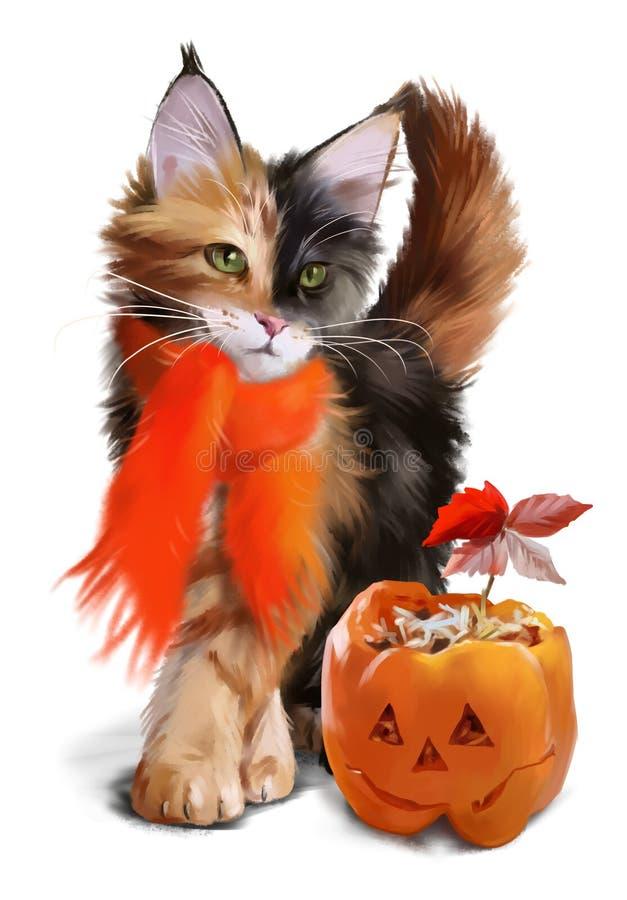 Gatto e zucca Halloween illustrazione vettoriale