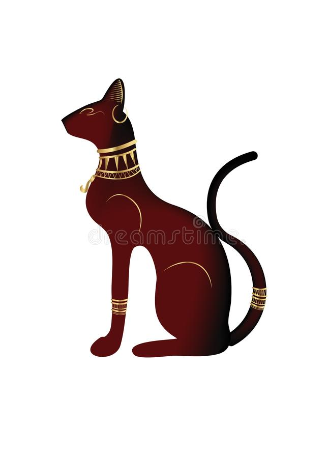 Gatto egiziano nero Bastet, dea di egitto antico, profilo della statua con i gioielli faraonici dell'oro, illustrazione di vettor royalty illustrazione gratis