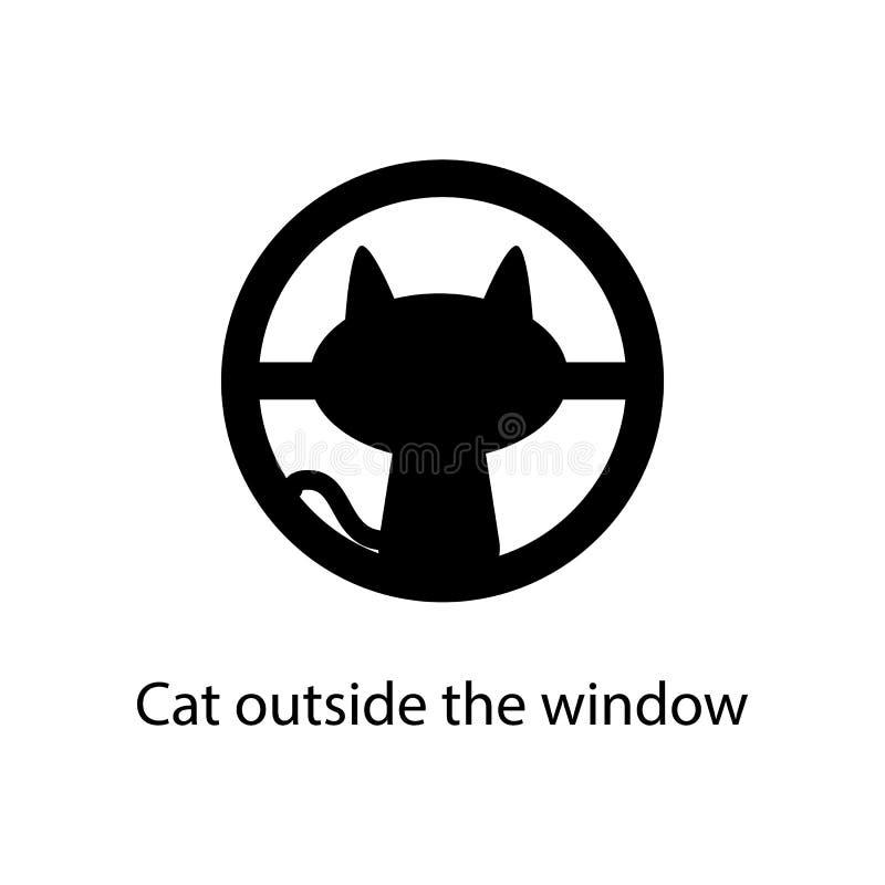gatto fuori dell'icona della finestra Elemento dell'icona minimalistic per i apps mobili di web e di concetto Segni ed icona dell illustrazione di stock
